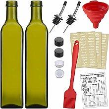 2-PACK Olive Oil Dispenser Set, 17oz Green Bottles