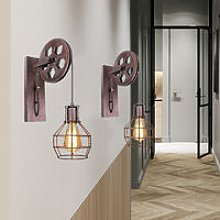 2 Pack Pulley Retro Wall Light Industrial Creative