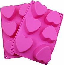 2 Pack Silicone Soap Molds 6 Cavity Heart Shaped