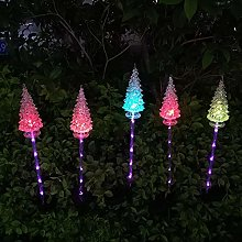 2 Pack Solar Garden Lights,Crystal Christmas Tree