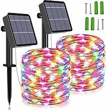 [2 Pack] Solar String Lights, 85 FT 240 LED Solar