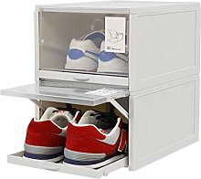 2 PACK Stackable Shoe Storage Rack, Foldable Shoe