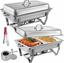 2 Packs Stainless Steel Chafing Dishes Sets 2 Half