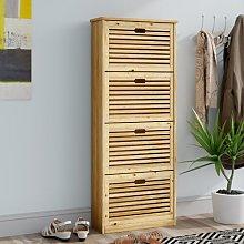 2 Pair Shoe Rack Storage Cabinet Natur Pur