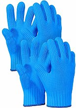 2 Pairs Blue Heat Resistant Gloves Blue Oven