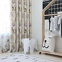 2 Panels Blackout Curtains Flowers Printed Curtain