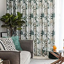 2 Panels Blackout Curtains Leaf Printed Curtain