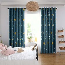 2 Panels Blackout Curtains Planet Star Printed