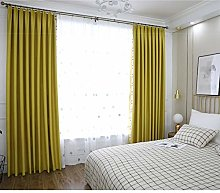 2 Panels Blackout Curtains Yellow Thermal