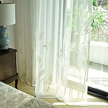 2 Panels Sheer Curtains Embroidered Dragonfly