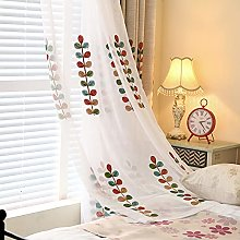 2 Panels Voile Curtain Embroidered Sheer Curtain