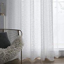 2 Panels Voile Curtain Lace Jacquard White Windows