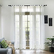 2 Panels Voile Sheer Curtains Embroidered White