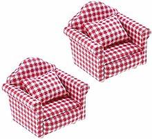 2 Pcs 1:12 Scale DIY Dollhouse Sofa&Armchair with