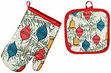 2 Pcs Christmas Microwave Oven Gloves & Mats,