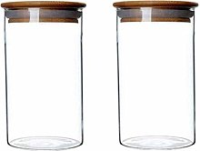 2 PCS Clear Glass Canister Food Storage Jar with