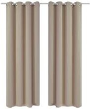 2 pcs Cream Blackout Curtains with Metal Rings 135