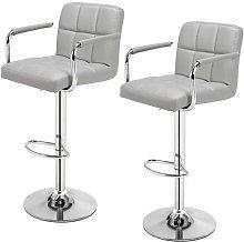 2 pcs Height Adjustable Swivel Bar Stool Bar Chair