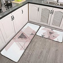2 Pcs Kitchen Rug Set, Abstract Geo in blush pink