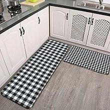 2 Pcs Kitchen Rug Set, Black and White Gingham