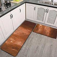 2 Pcs Kitchen Rug Set, copper ixs Non-slip Kitchen