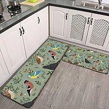 2 Pcs Kitchen Rug Set, Garden Birds Non-slip