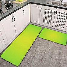 2 Pcs Kitchen Rug Set, Lime Green Non-slip Kitchen