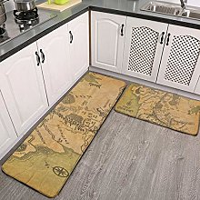 2 Pcs Kitchen Rug Set, Lord of the ring (Map)