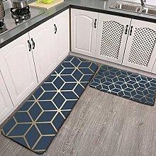 2 Pcs Kitchen Rug Set, navy blue gold Non-slip