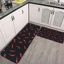 2 Pcs Kitchen Rug Set, Red Hot Chilli Non-slip