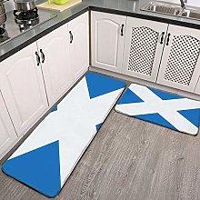 2 Pcs Kitchen Rug Set, Scotland Flag Non-slip