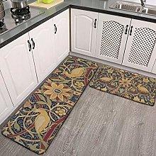 2 Pcs Kitchen Rug Set, William Morris Bullerswood