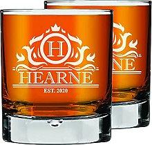 2 Pcs. Personalised Engraved Custom Whiskey Glass,