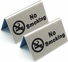 2 Pcs Stainless Steel No Smoking Sign Tent Card Do