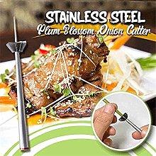 2 Pcs Stainless Steel Plum Blossom Onion Cutter,