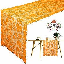 2 Pcs Thanksgiving Table Runner Maple Leaf Lace