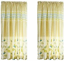 2 PCS Vines Leaves Voile Curtain - Diadia Curtain