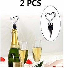 2 PCS Wine Stopper Stainless Heart Shaped Steel