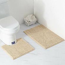 2 Piece Bath Mat / Toilet Mats Set, Soft Absorbent