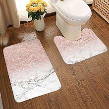 2 Piece Bathroom Rug Set Modern Rose Gold Pink