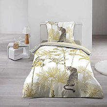 2-Piece Bedding Set 140 x 200 cm Gold Panther Prin