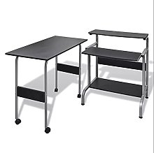 2 Piece Computer Desk with Pull-out Keyboard Tray
