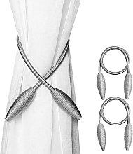 2 Piece Curtain Tiebacks, Silver Gray Curtain