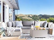 2 Piece Garden Sofa Set Beige w/ Grey Cushions 5