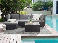 2 Piece Garden Sofa Set Black w/ Grey Cushions 5