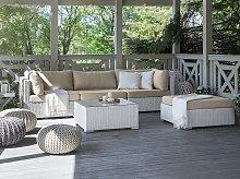 2 Piece Garden Sofa Set White w/ Beige Cushions 5