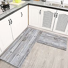 2 Piece Kitchen Rugs and Mats Kitchen Rug Set,Gray