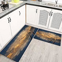 2 Piece Kitchen Rugs and Mats Kitchen Rug Set,Sky
