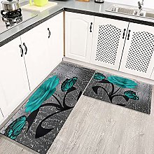 2 Piece Kitchen Rugs and Mats Kitchen Rug Set,Teal