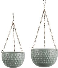 2 Piece Metal Hanging Basket Set Present Time